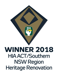Winner 2018, HIA ACT/Southern NSW, Heritage Renovation