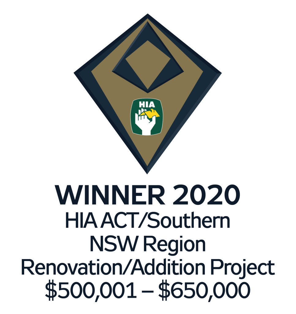 HIA WINNER 2020 - HIA ACT/Southern NSW Region Renovation/Addition Project $5000,001 - $650,000.